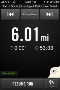 Why yes, I am listening to a book on tape while I run. Nerding out!