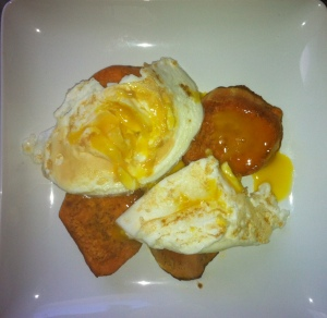 Sunny Side Eggs over Sweet Potato